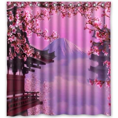 EREHome Japan Cherry Blossoms Shower Curtain Polyester Fabric Bathroom Decorative Curtain Size 66x72 Inches - image 1 de 1