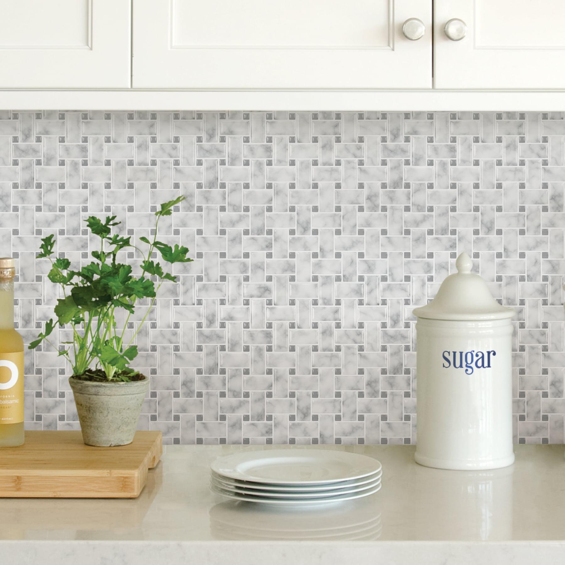 - InHome Basketweave Carrara Peel & Stick Backsplash Tiles - Walmart