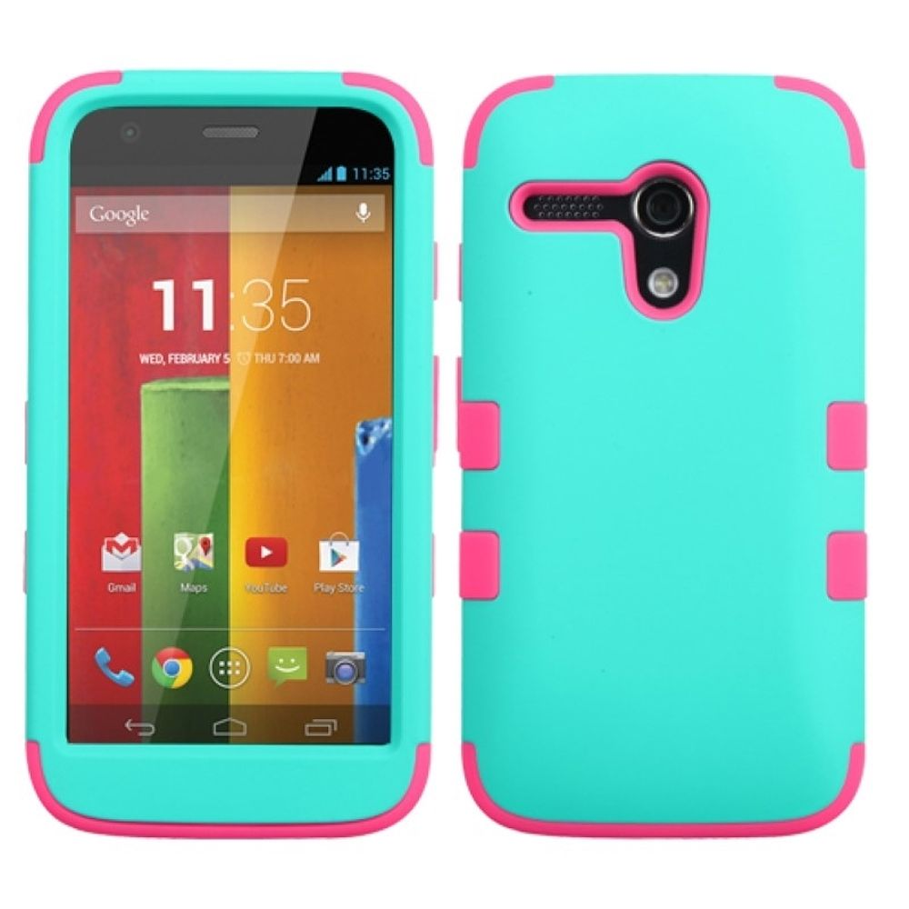 Insten Rubberized Teal Green/Electric Pink TUFF Hybrid Phone Case Cover For Motorola Moto G