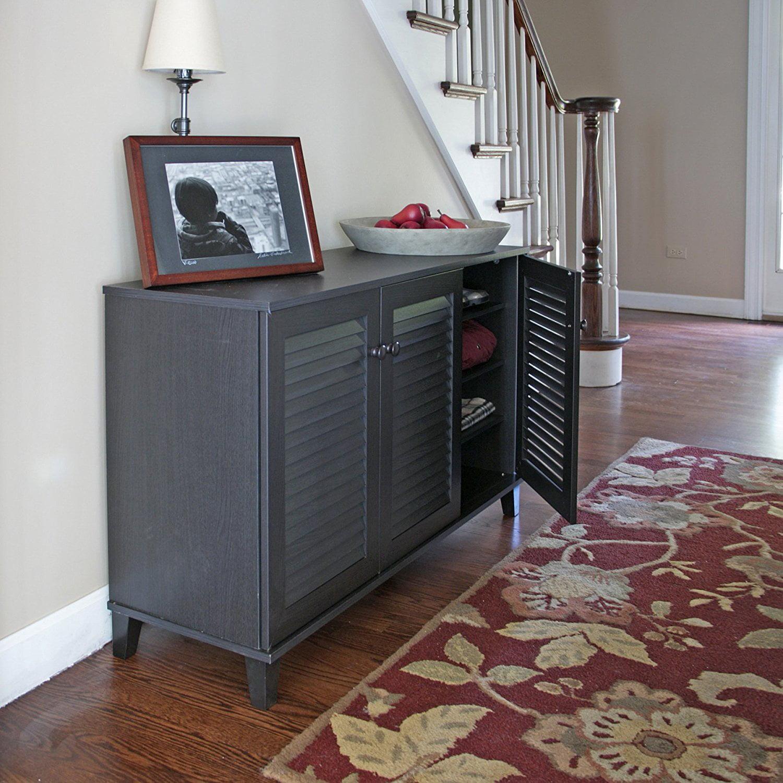 Baxton Studio Warren Shoe-Storage Cabinet, Espresso - Walmart.com
