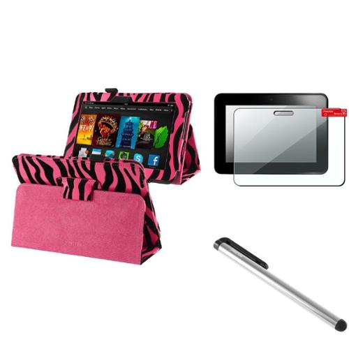 Insten Pink Zebra Leather Case+SPT+Stylus For Kindle Fire HD 7 (designed for 2012 ver ONLY)(w/ Auto Sleep/Wake)