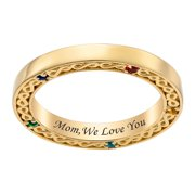 Personalized Women's Sterling Silver or Gold over Silver Family Infinity Engraved Birthstone Band