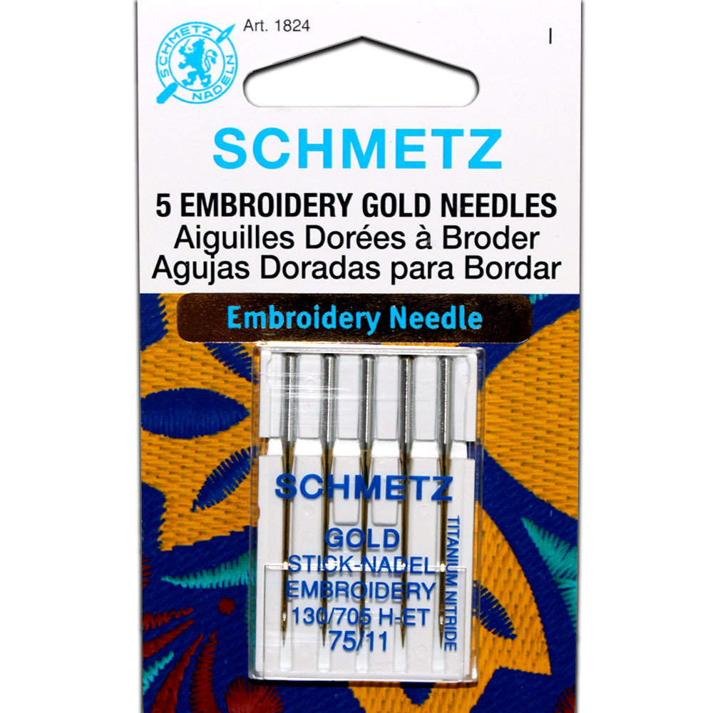 Schmetz Gold Titanium Embroidery Needles - Size 75/11
