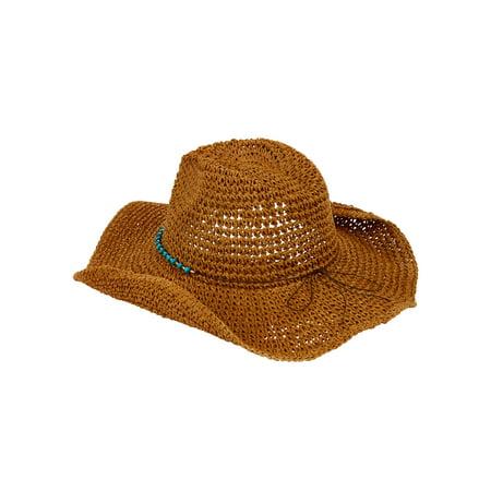 Panama Straw Cowboy Hat - Eliza May Rose Women's Straw Cowboy Hat