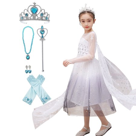 Girls Frozen 2 Elsa Princess Dress Up Costumes Halloween Christmas Fancy Party Dresses - image 1 of 7