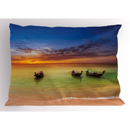 Tropical Pillow Sham Traditional Thailand Boats in Ocean and Horizon Exotic Sea Vacation Landscape, Decorative Standard Queen Size Printed Pillowcase, 30 X 20 Inches, Multicolor, by Ambesonne
