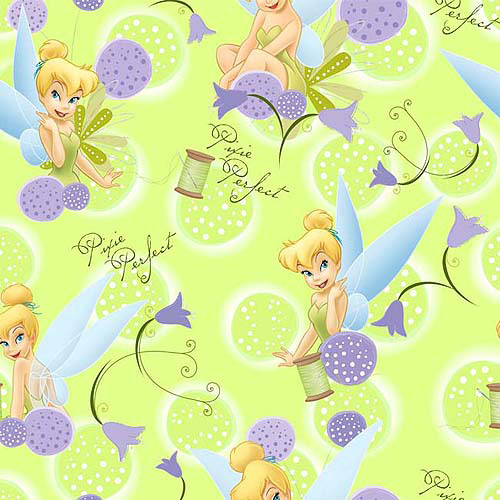 Creative Cuts Fleece Fabric, Disney Tinkerbell and Dandelion Print