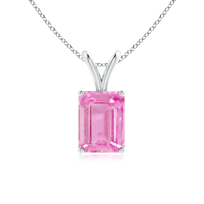 September Birthstone Pendant Necklaces Emerald-Cut Pink Sapphire Solitaire Pendant with Prong Set in 950 Platinum (8x6mm... by Angara.com