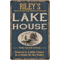 RILEY'S Lake House Blue Cabin Home Decor 8 x 12 High Gloss Metal 208120038210
