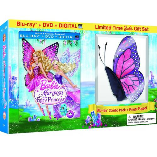 Barbie Mariposa & The Fairy Princess (Blu-ray + DVD + Digital Copy + Plush Butterfly Finger Puppet) (Walmart Exclusive)