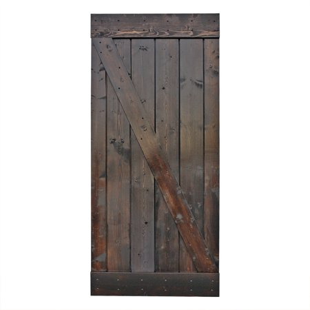 Knotty Alder Wood Doors (CALHOME 36 in. x 84 in. Dark Chocolate Stain Knotty Pine Sliding Barn Wood Interior Door slab)