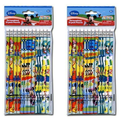 Party Favros Mickey Mouse 24pk Pencils in Poly Bag with Header- 2 DZ