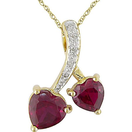 10k Gold Created Ruby and Diamond Accent Double Heart Necklace (Birthstone Double Heart Pendant)