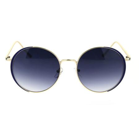 Thirty Two Womens Lashed - Elegant Womens Jewel Parentheses Eye Lash Sunglasses Gold Blue Smoke
