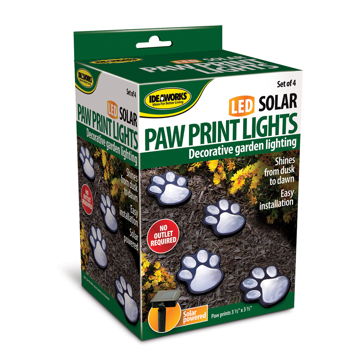 Ideawork's Set of 4 LED Pathway Paw Print Solar Lights by Jobar International
