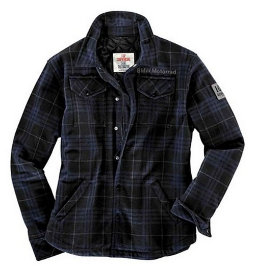 BMW Genuine Motorcycle Riding Vintage Unisex Jacket XL Blue-and-Black Check