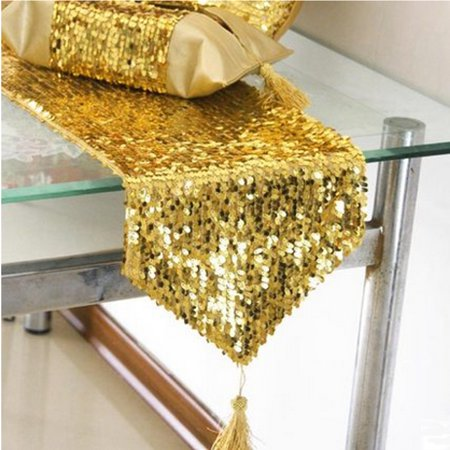 Meigar 12 By 108 Inch Elegant Rectangle Gold Sequin Wedding Table Runner Gold Glitz Table Linens