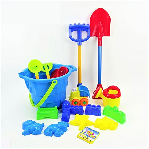 17pc Piece Beach sand Toy Set,Toy Dump Truck, Bucket, Shovels, Rakes, Sand Wheel, Watering Can, Molds by Paradise Treasures