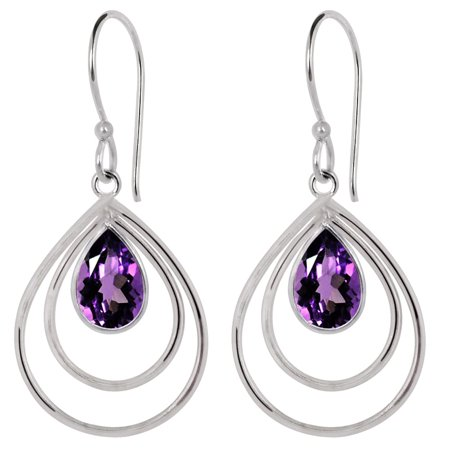 Designer Jewelry 3.15 Carat Amethyst Gemstone Fashion Brass Hook (Gemstone Designer Earring)