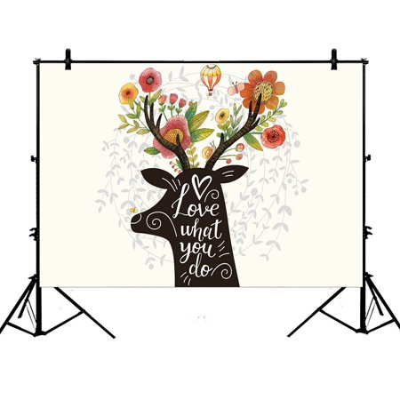 YKCG 7x5ft Spring Lush Floral Flower Christmas Gift Reindeer Hot Balloon Photography Backdrops Polyester Photography Props Studio Photo Booth Props](Reindeer Props)