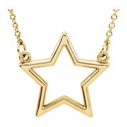 """14K Yellow Gold Star 16"""" Necklace Fine jewelry gift for Womens"""