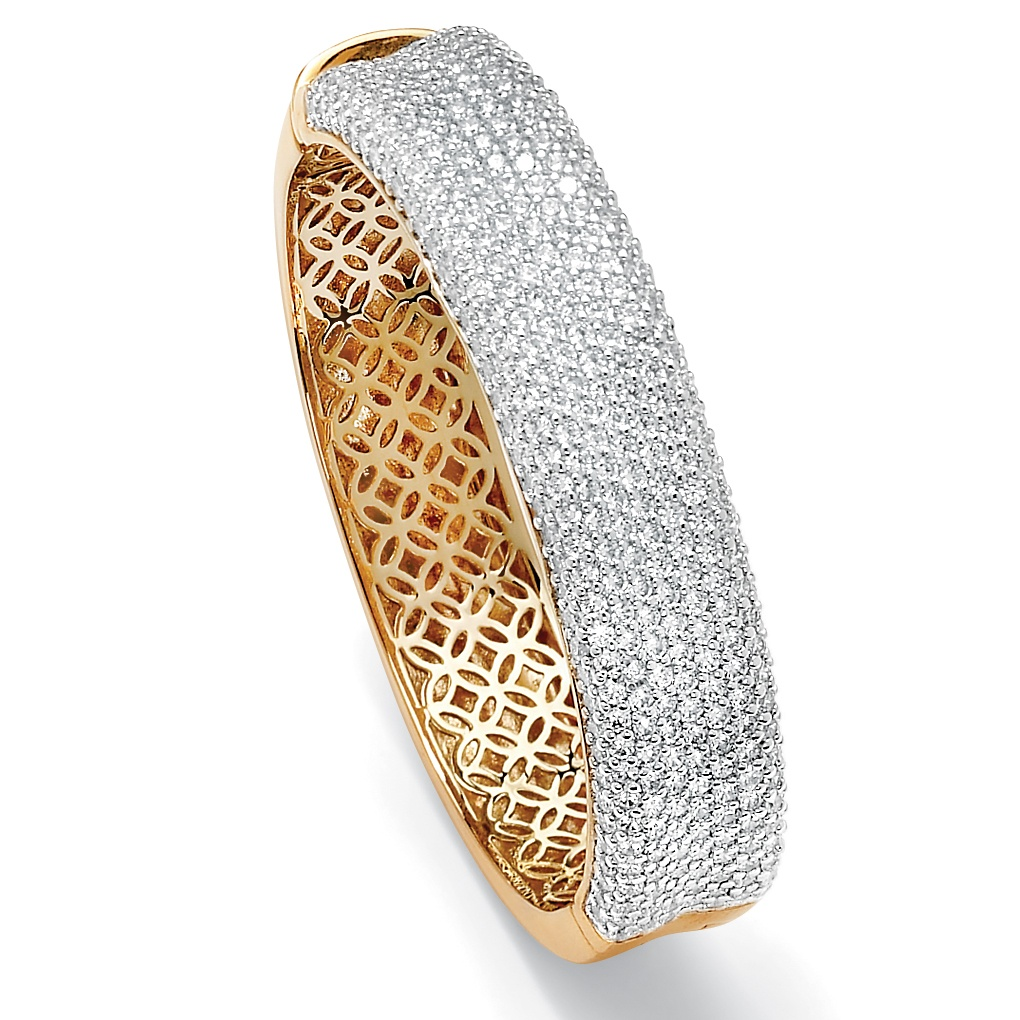 11.55 TCW Round Cubic Zirconia 14k Gold-Plated Pave Bangle Bracelet 7""