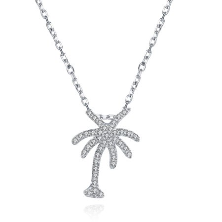 - Aventura Jewellery Swarovski Elements Palm Tree Sterling Silver Necklace