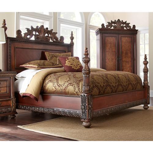 LYKE Home  Bettina Mahogany and Ash Burl King Bed