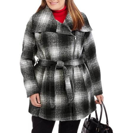 Maxwell Studio Women's Plus-Size Plaid Asymmetrical Zip-Front Coat