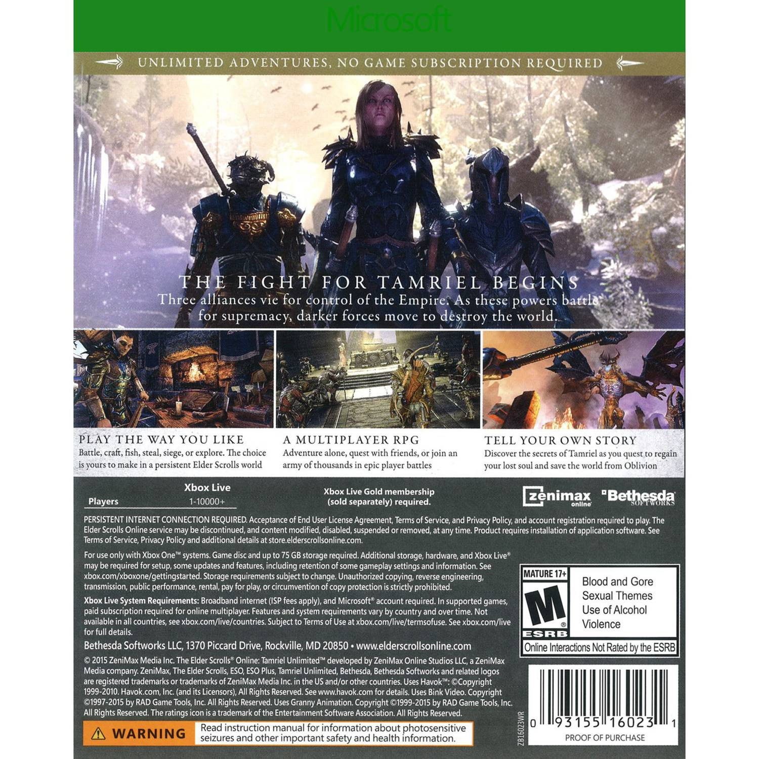 Bethesda Softworks The Elder Scrolls Online: Tamriel Unlimited (Xbox