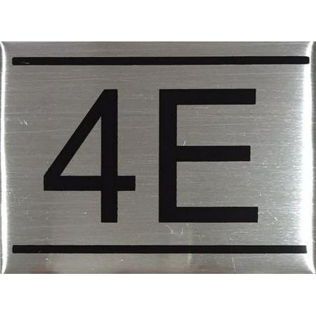 APARTMENT NUMBER SIGN -4E -BRUSHED ALUMINUM (2 25X3, Aluminium))