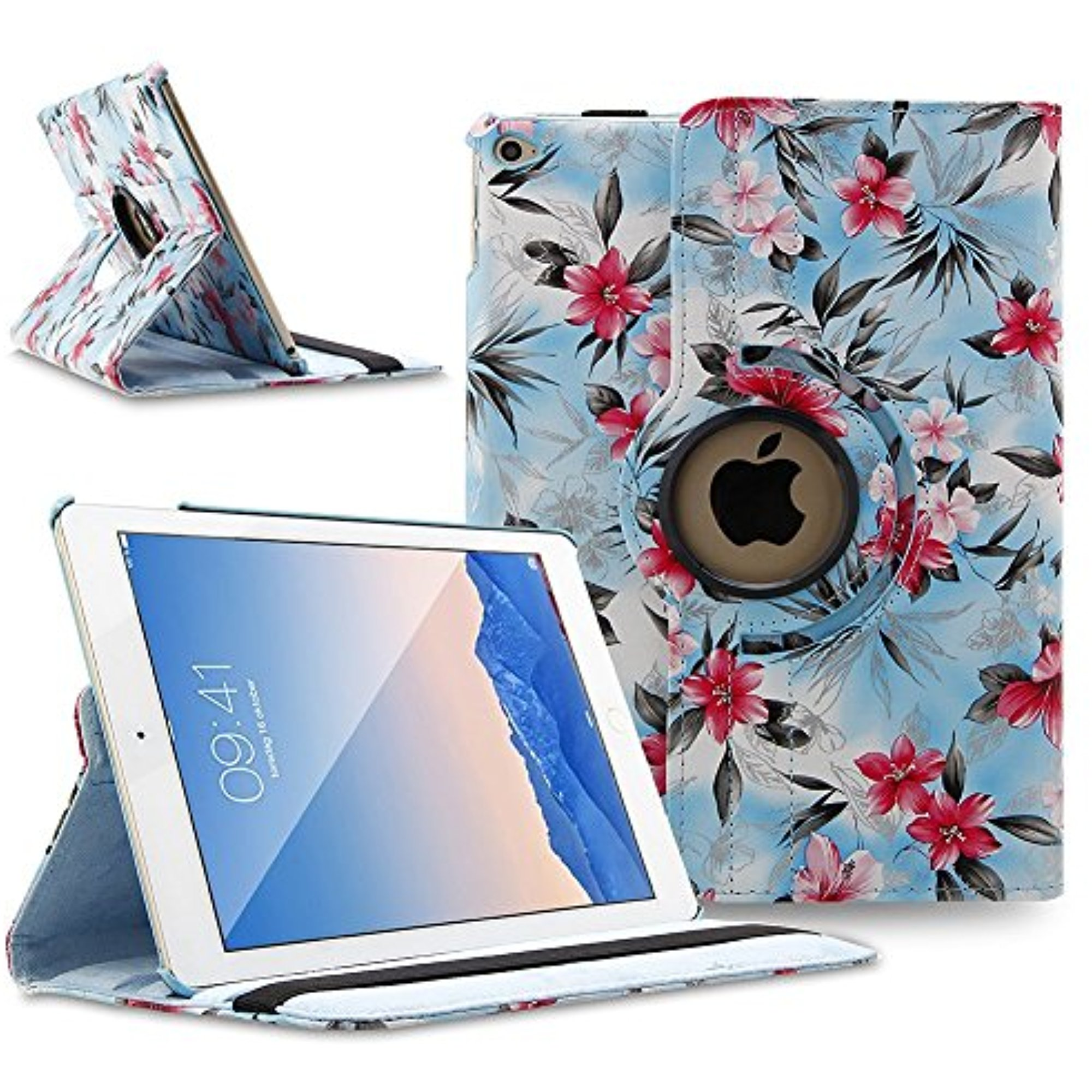 TOPCHANCES 360 Degrees Rotating PU Leather Case Smart Cover Stand Tablet Case Support Wake/Sleep Function w Stylus Pen for iPad Air 2 iPad 6 (Blue Camellia)