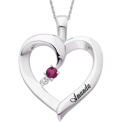 """Personalized Birthstone and Name Sterling Silver Pendant, 20"""""""