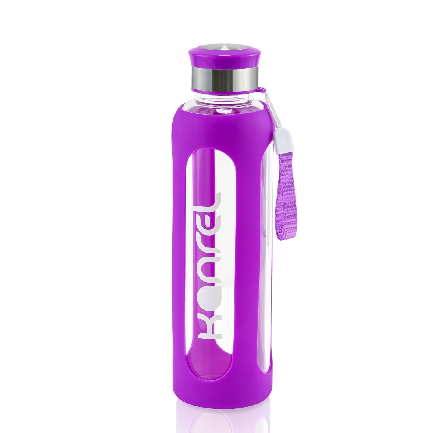 Kanrel Glass Water Bottle with Silicone Sleeve 32 oz Purple