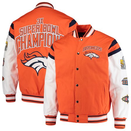 Denver Broncos G-III Sports by Carl Banks Home Team Cotton Canvas Varsity Jacket - Orange/White ()