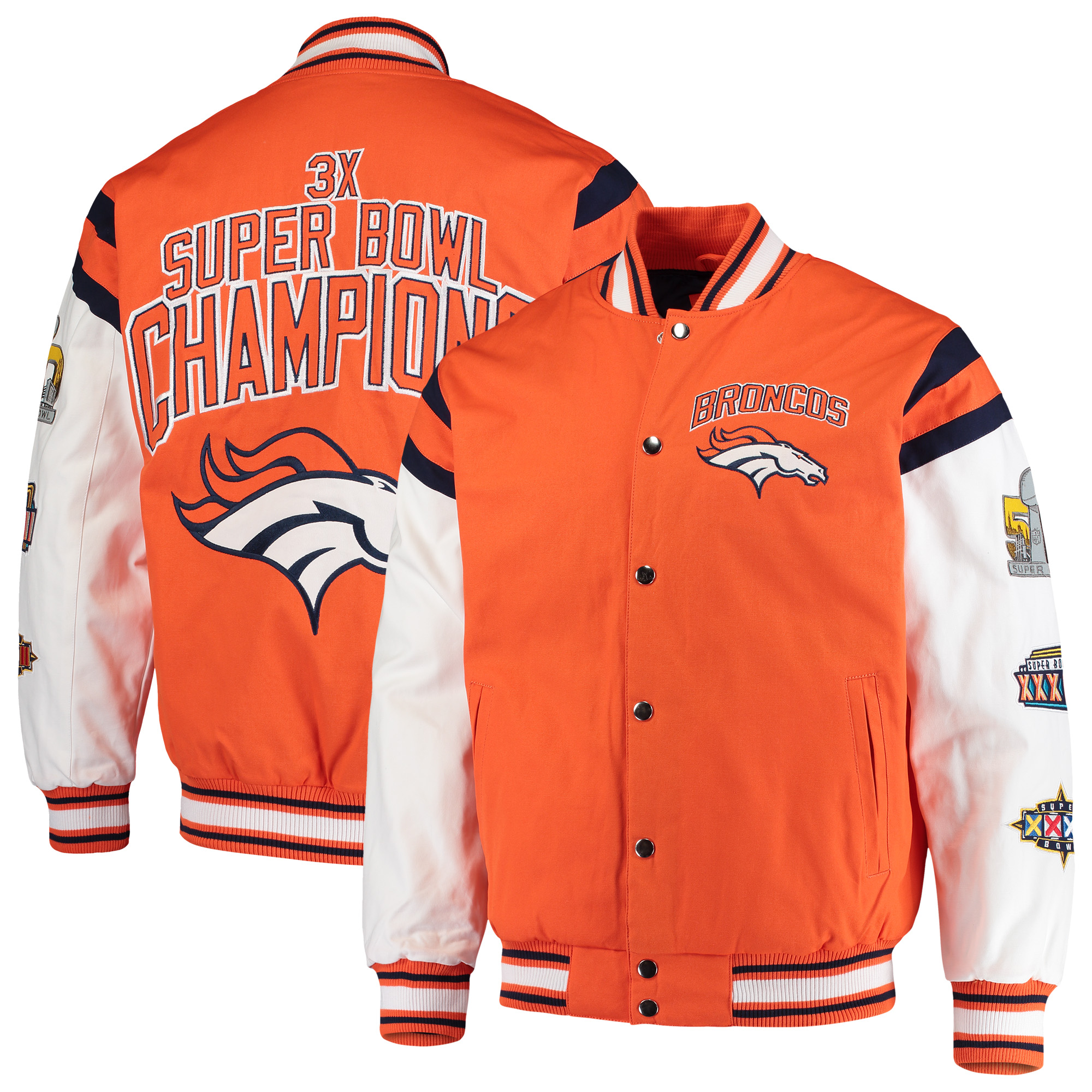 Denver Broncos G-III Sports by Carl Banks Home Team Cotton Canvas Varsity Jacket - Orange/White