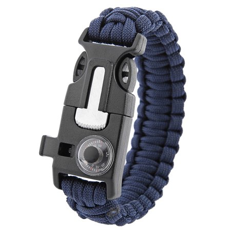 Multifunctional Whistle Flint Thermometer Knitted Survival