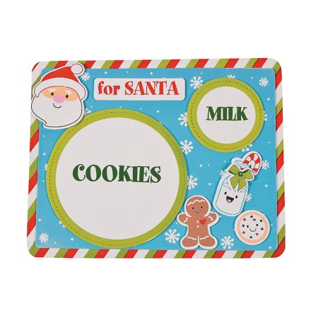 Fun Express - Milk And Cookies For Santa Foam Placemat for Christmas - Craft Kits - Party Craft Kits - Party Supplies - Christmas - 12 Pieces - Milk And Cookies Party