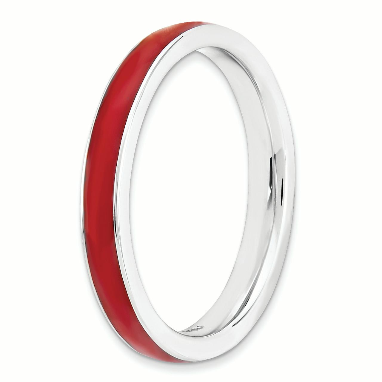 Sterling Silver Stackable Expressions Red Enameled 3.25mm Ring Size 6 - image 1 de 3