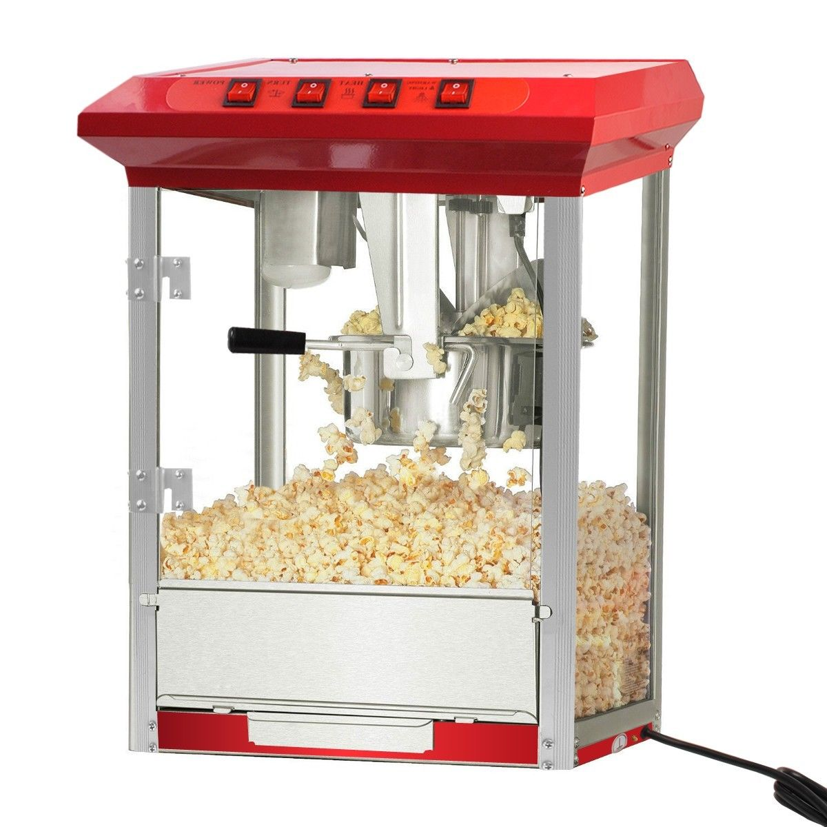 GHP 8-Oz Stainless Steel Kettle Capacity Red Tabletop Popcorn Machine with Crumb Tray