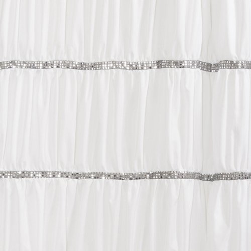 Lush Decor Twinkle Shower Curtain, White