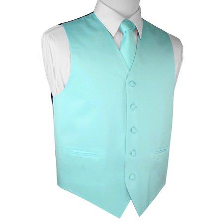 Italian Design, Men's Tuxedo Vest, Tie & Hankie Set - Aqua (Halloween Aqua Lyrics)