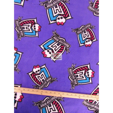 David Textiles Fleece Printed Fabric / Monster High Crest Purple / Sold By The Yard