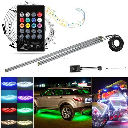 TSV 4Pcs Car LED Neon Undercar Glow Light Underglow Atmosphere Decorative Bar Lights Kit Strip, 5050 SMD Underbody System Waterproof Tube with Sound Active and APP Bluetooth for iPhone Android
