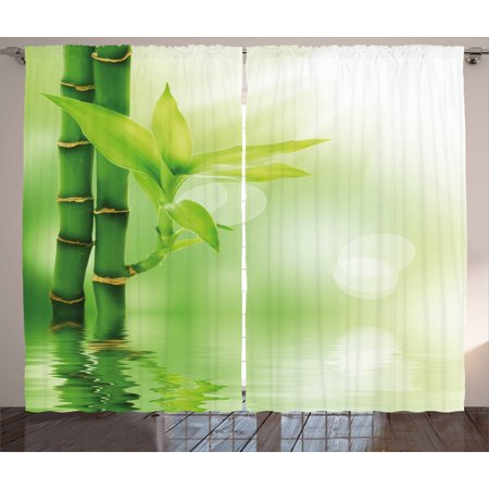 Plant Curtains 2 Panels Set, Chinese Ecology Picture of Bamboo Sticking out of the Water Serene Atmosphere, Window Drapes for Living Room Bedroom, 108W X 90L Inches, Emerald Green, by Ambesonne ()