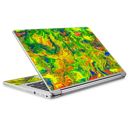 Skin Decal For Acer Chromebook R13 Laptop Vinyl Wrap / Green Trippy Color Mix - Ace Mixer