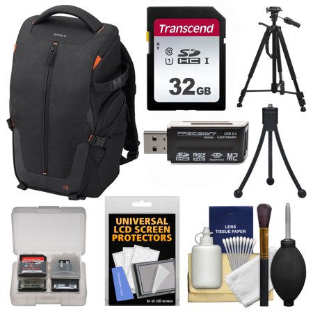 Sony LCS-BP2 Soft Digital SLR Camera Backpack Carrying Case (Black) with 32GB SD Card + Tripod + Accessory Kit for SLT-A57, A58, A65, A77, A99 DSLR Cameras (Sony Digital Camera Case)