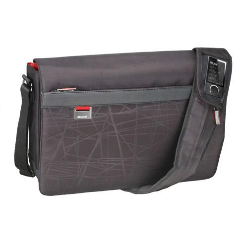 "Microsoft MT 17"" Laptop Messenger Bag, Black/Red"