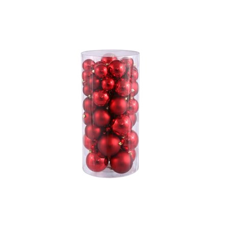 50ct Red Hot Shiny & Matte Shatterproof Christmas Ball Ornaments 1.5