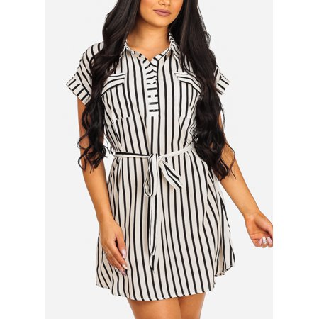 - Womens Juniors Fashion Casual Everyday Wear To Work Lightweight Short Sleeve White and Black Stripe Print Belted Above Knee Shirtdress Dress 41335V